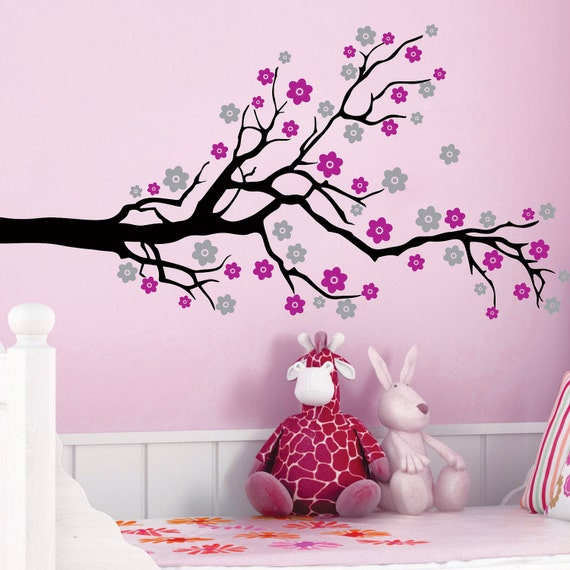 Cherry Blossom Tree Flowers Vinyl Wall Decals Art Stickers KIds Nursery