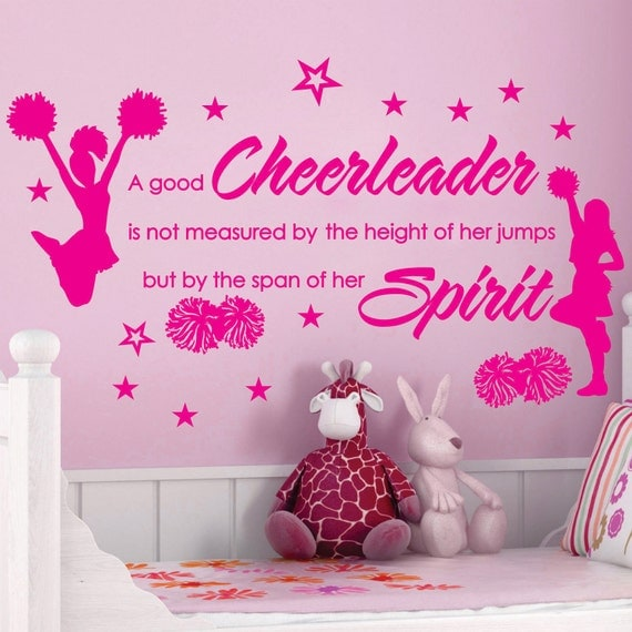 Cheer cheerleaders poms girls stars custom by sunshinegraphix for Cheerleader wall mural