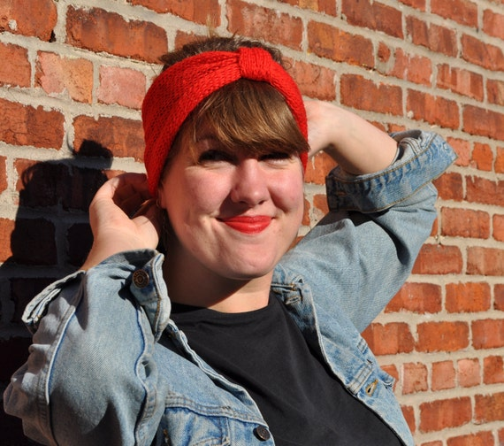 hand knit headband bright crimson red with 1940s turban- style cinch