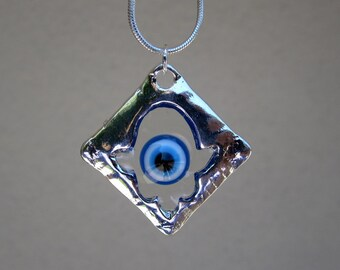 Evil Eye Necklace, Silver Hamsa Necklace, Hamsa Silver Necklace