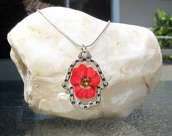 Silver Hamsa Necklace with Red Pressed Flower, Hamsa Flower Resin Necklace, Valentine's Day Flower Necklace, Mothers Day Flowers Jewelry
