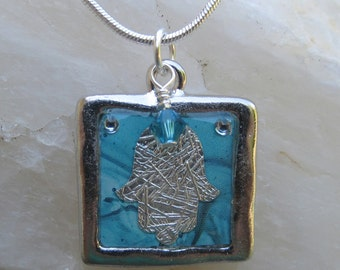 Silver Hamsa Necklace, Hamsa Resin Necklace, Turquoise Silver Hamsa Necklace, Valentines Day Jewelry, Mother's Day Necklace