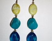 Lime,Turqoise and Blue Dangle Earrings in Antique Brass