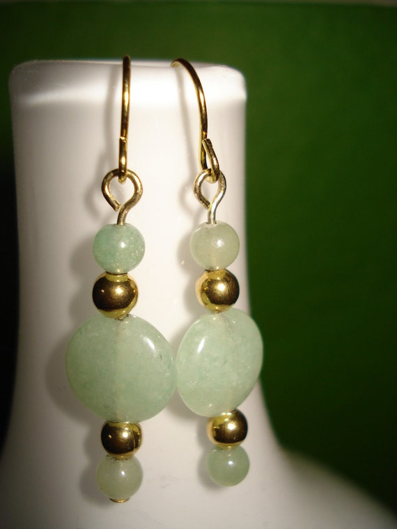 Faux Jade Earrings with  Antique Gold Tones