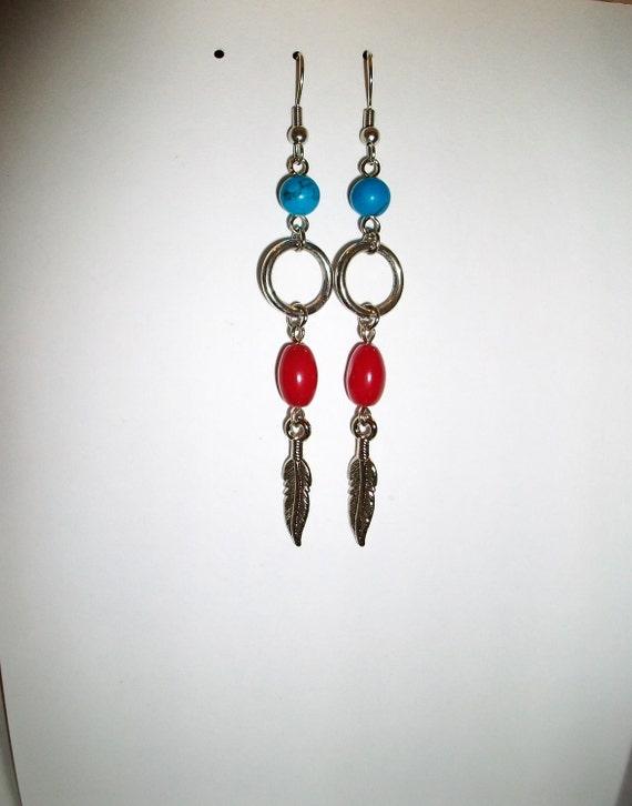 Turqoise , Red and feather Earrings
