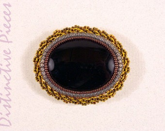 Black Onyx Brooch or Pendant - Seed Beadwork Embroidery, Beaded Natural Stone Pin, Handsewn Amber Seed Beads, Mourning Jewelry, PO3040026