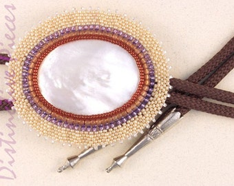 Mother of Pearl Bolo/Bola Tie - Beaded Slide Necklace, Natural Shell with Pearl Seed Beads, Western String Tie, Bead Embroidery, BO3040010