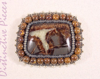 Septarian Jasper Brooch or Pendant with Elephant Hair Beads - Beadwork Embroidery with Semi-Precious Stones, Large OOAK Brooch, PM4055002