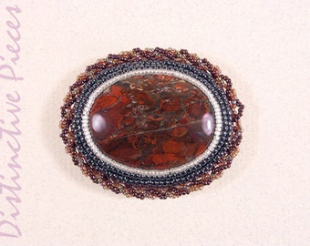 Red Jasper Brooch or Pendant - Bead Embroidery, Classic Beadwork, Beaded Jewelry, Pearl Seed Bead Brooch, Red Jasper Cabochon, PO3040002