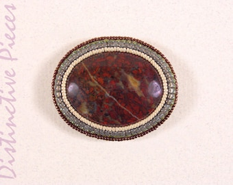 Red Variegated Jasper Brooch or Pendant - Beadwork Embroidery, Natural Dark Red Jasper Cabochon Pin, Seed Beaded Pin with Pearls, PO3040005