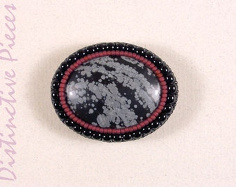 Snowflake Obsidian Brooch or Pendant - Beadwork Embroidered Pin, Natural Black and White Stone Cabochon with Cranberry Seed Beads, PO3040025