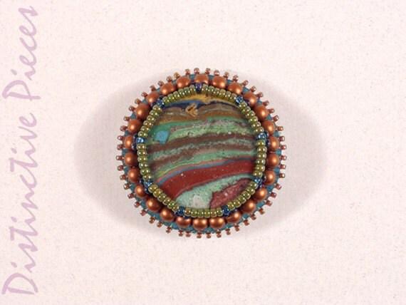 Rainbow Casilica Brooch - Landscape - Bead Embroidery PR0030001