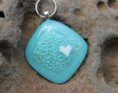 Turquoise Heart  Dichroic Glass Pet ID Tag