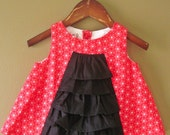 SALE - Ruffle Front Red Star Dress Size 6-9 months