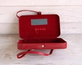 Vintage Makeup Bag becomes Amazing Square Red Purse
