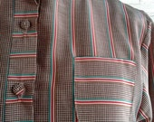CLEARANCE Vintage 1970s HOUNDSTOOTH & Stripes Blouse