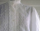 Vintage White Shirt - 1970s Lace Shirt with Lace and Puffed Shoulders