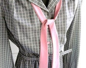 on sale: Vintage  Dress - 1970s 80s Gray Secretary Dress with Pink Tie