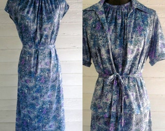 On Sale: Vintage Dress - 1960s 70s PASTEL Floral Day Dress Set with Matching Top, Belt