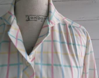 Vintage Blouse - 1970s 80s PASTEL Laser Plaid Shirt