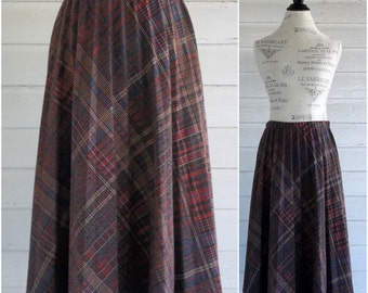 Vintage Skirt - Plaid Wool Skirt with  ACCORDION Pleats