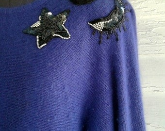 on sale : Vintage 1980s SEQUINed Violet Angora Sweater