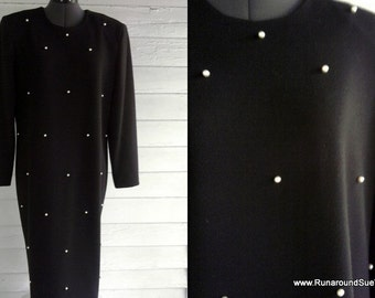 Vintage 1980s PEARL Studded Black Dress M