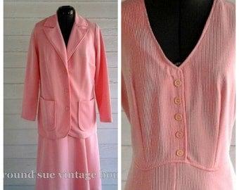Vintage 1960s dress and suit jacket - CANDYSTRIPE Sleeveless Shift Dress L