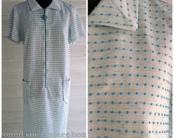Vintage 1960s Dress - White & Sky Blue DOTTED Swiss Shift Dress