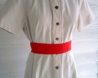 Vintage Dress - COFFEE and Cream Striped Liz Claiborne Dress M - Clearance