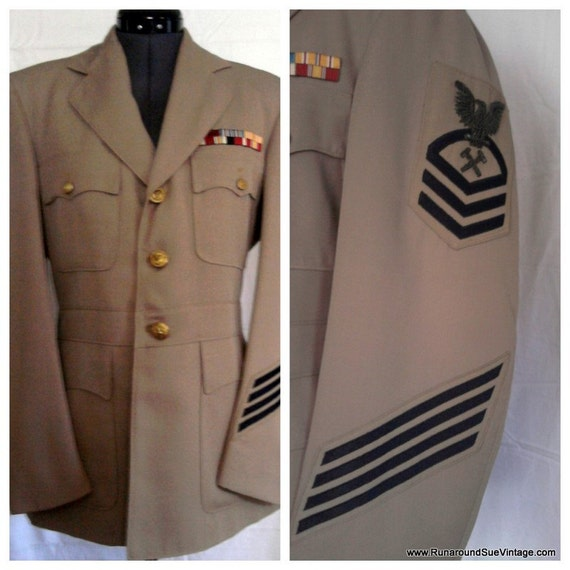 Vintage MILITARY Jacket - Official US Navy Uniform  GI Blues Jacket