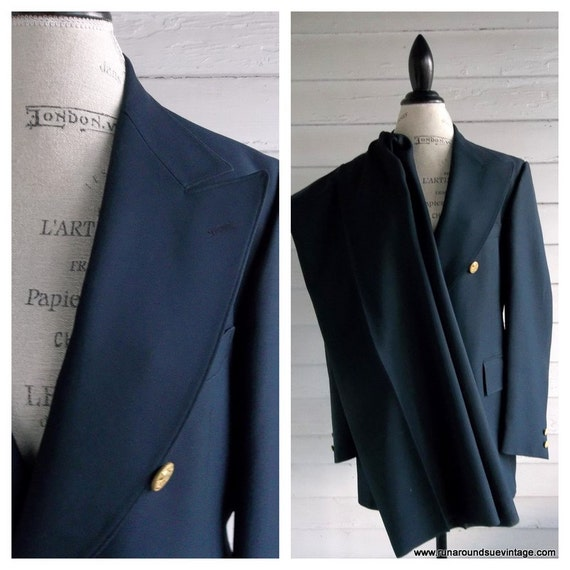 Vintage 1960s Men's Suit - MAD MEN Navy Blue Double Breasted Suit Jacket and Trousers