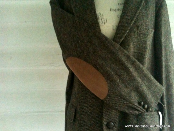 Vintage Wool Professor's Jacket with TOFFEE Suede Elbow Patches