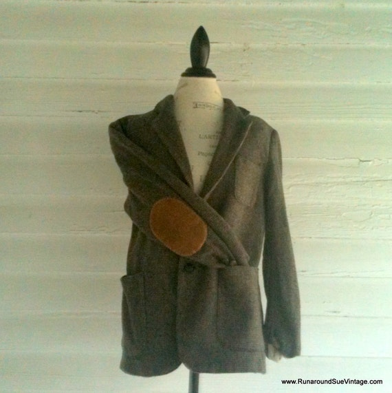 Vintage Wool Professor's Jacket with CARAMEL Suede Elbow Patches