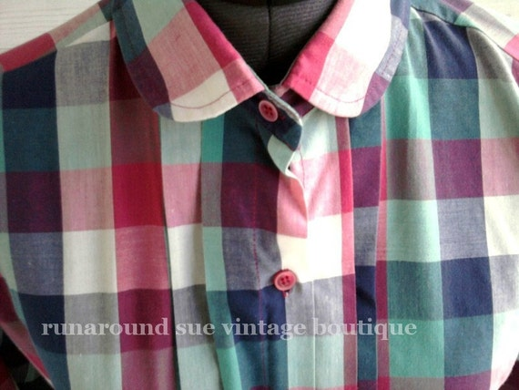 Vintage 1980s Plaid Blouse with PETER PAN Collar