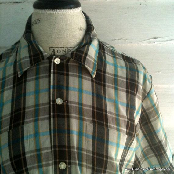 Vintage Men's Shirt - Men's Plaid Short-Sleeved Country Shirt