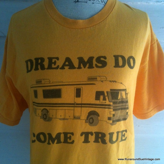 RESERVED for Kate Vintage T Shirt: Yellow RV Retro Tee - Dreams Do Come True