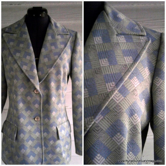 on sale: Vintage Jacket - 1960s SEA Green Blue and Gray Blazer