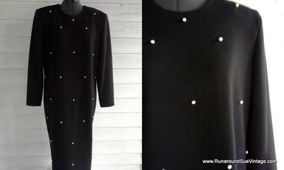 Vintage 1980s PEARL Studded Black Dress M