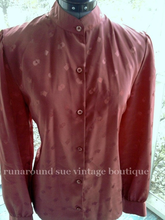 Vintage 1980s COPPER Secretary Blouse with Geometric Design, Band Collar