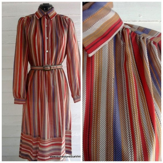 Vintage Dress - 1970s Coral Lilac Neutral STRIPED Dress with Belt