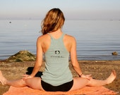"SALE ""All Beings Free"" Seafoam Racer Back Yoga Tank with Sanskrit Screen Print"