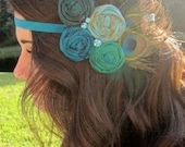 Rosette Headband Turquoise Peacock hand rolled rosette headband- best seller!!