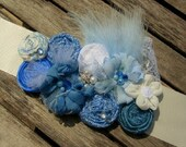 Blue Shades Rosette Bridal or Maternity Sash Vintage-inspired w/ Handrolled Fabric Rosettes & Maribou Feathers