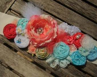 Aqua and Coral Pink Rosette Bridal or Maternity Sash Vintage-inspired w/ Handrolled Fabric Rosettes & Maribou Feathers