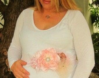 Maternity or Bridal Custom Sash with Handmade Rosettes Vintage Shabby Chic
