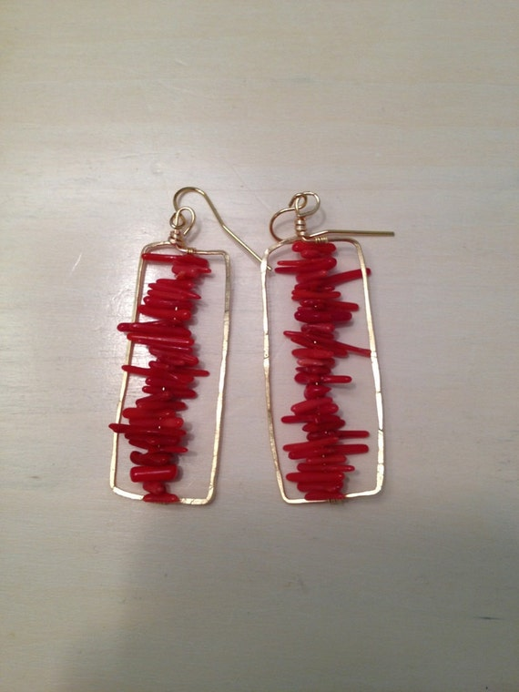 Hammered Coral Earrings
