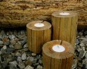 Reclaimed Barn Wood Tea Light Holder Set of (3) - Illuminating Rustic Wedding - Holiday Decor OOAK Ready to Ship