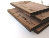Laser Cut Wooden Gift Tags - Laser Engraved Wooden Open Me Earthy Gift Tags