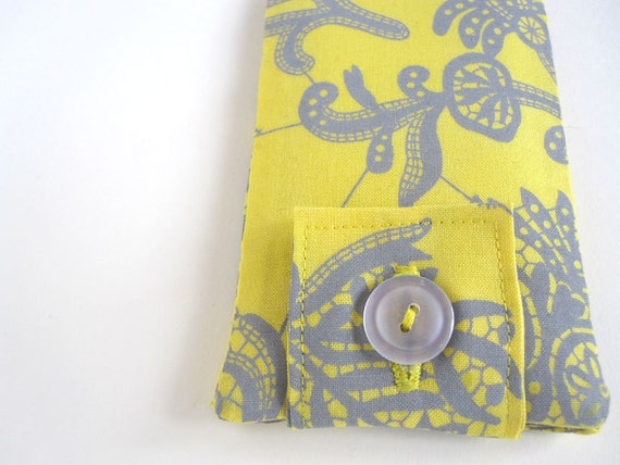Ready to Ship SALE Paisley iPhone Case - Yellow & Grey Amy Butler Modern Cotton Print iPhone, iPod Touch - Ready to Ship